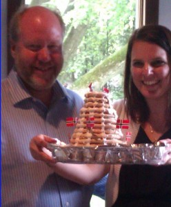 Proud of their Kransekake and oh so happy too!