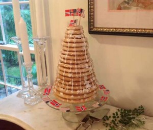 Beth assembled and decorated a nice example of a Kransekake.